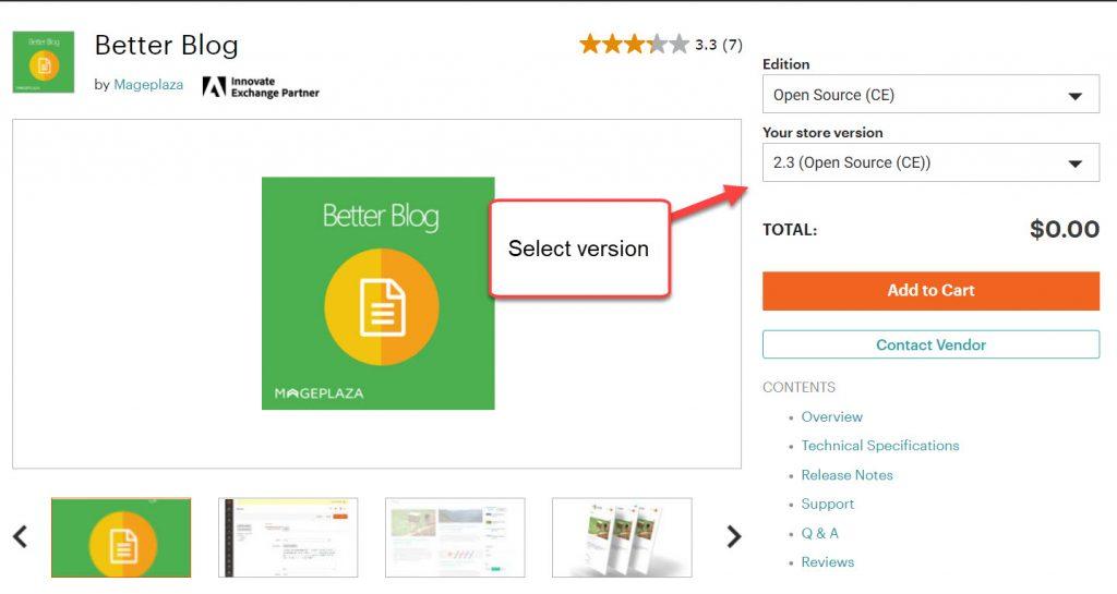 better blog extension add too cart