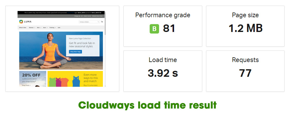 cloudways loadtime result