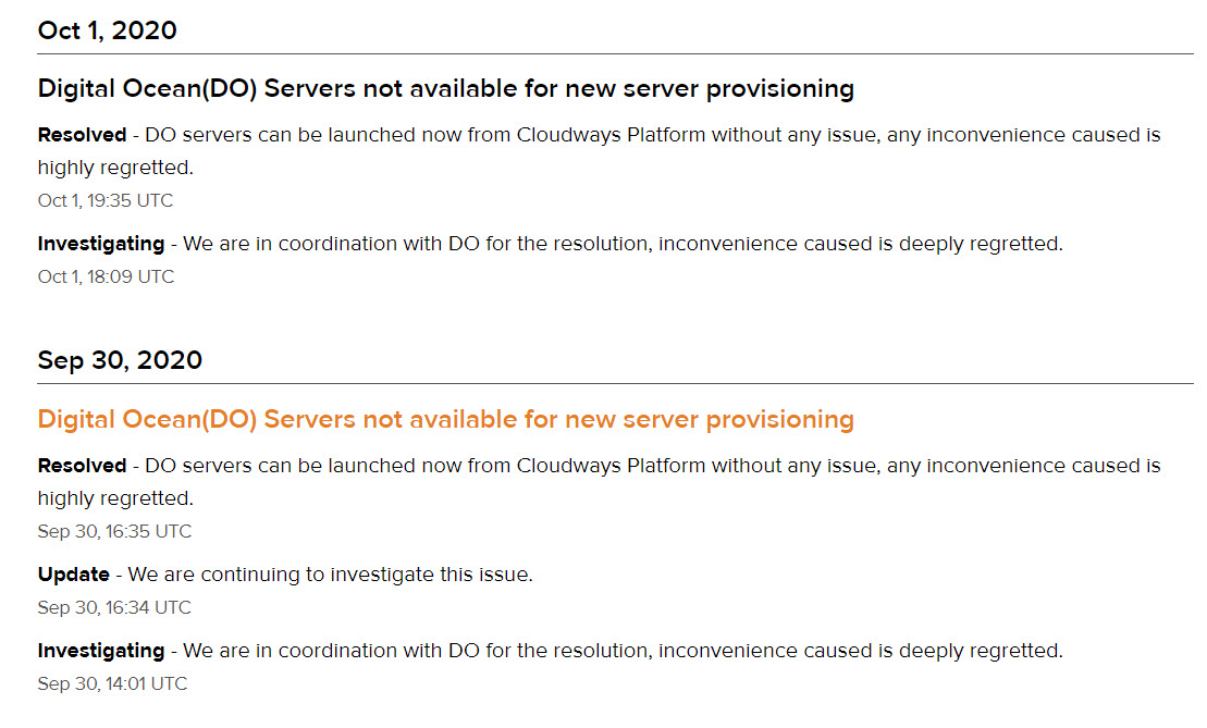 cloudways notifications status page