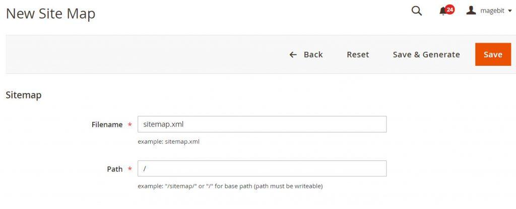 create new sitemap magento 2