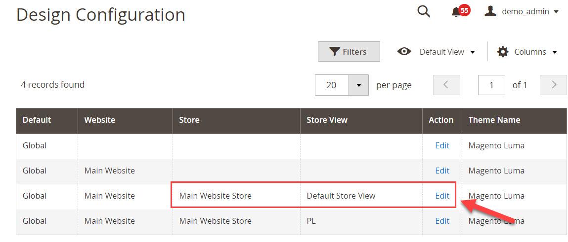 default storeview