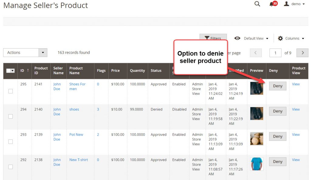 deny seller product