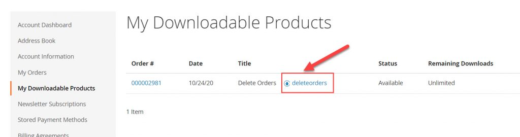 download extension delete order