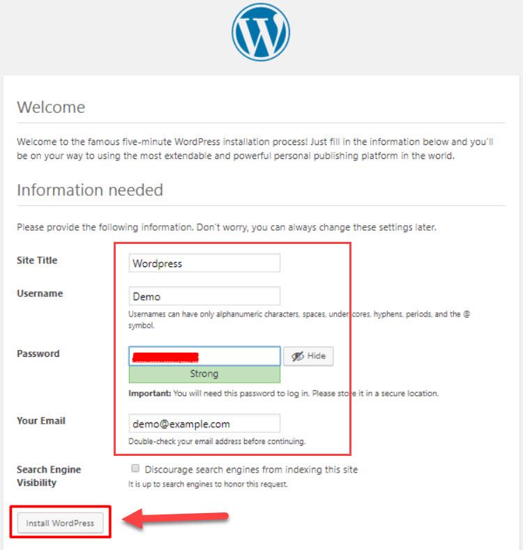 finish install wordpress