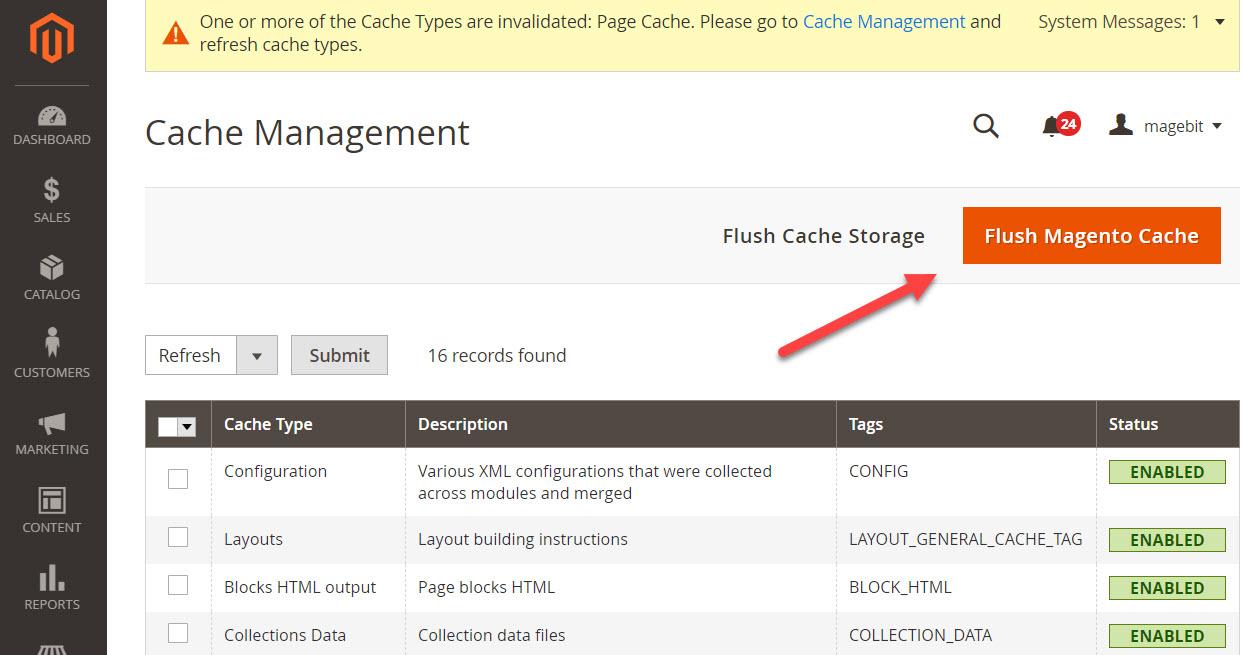 flush magento 2 cache