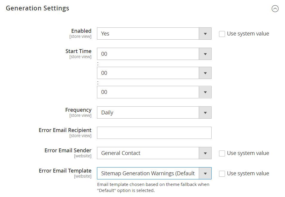 generation settings