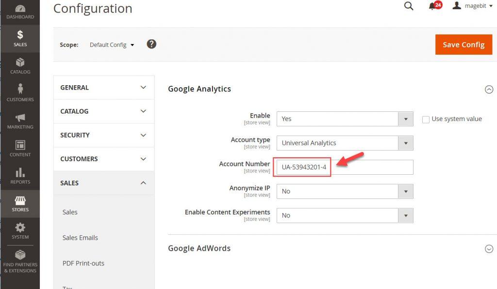 google analytic tracking code magento 2