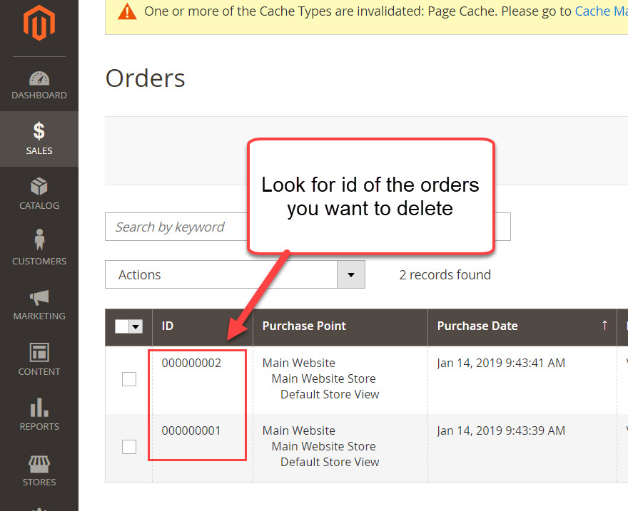 look for order id you want to delete