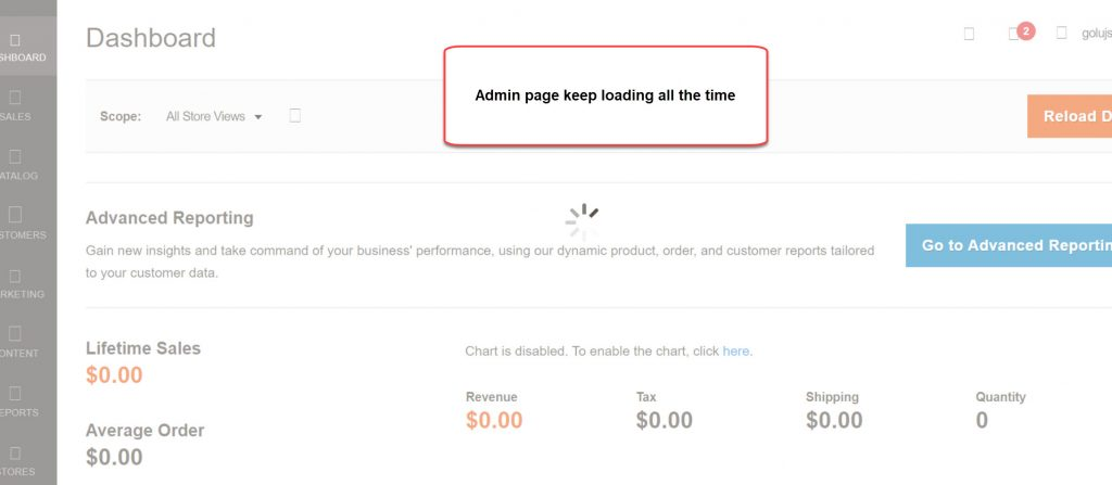 magento 2 admin page keeploading