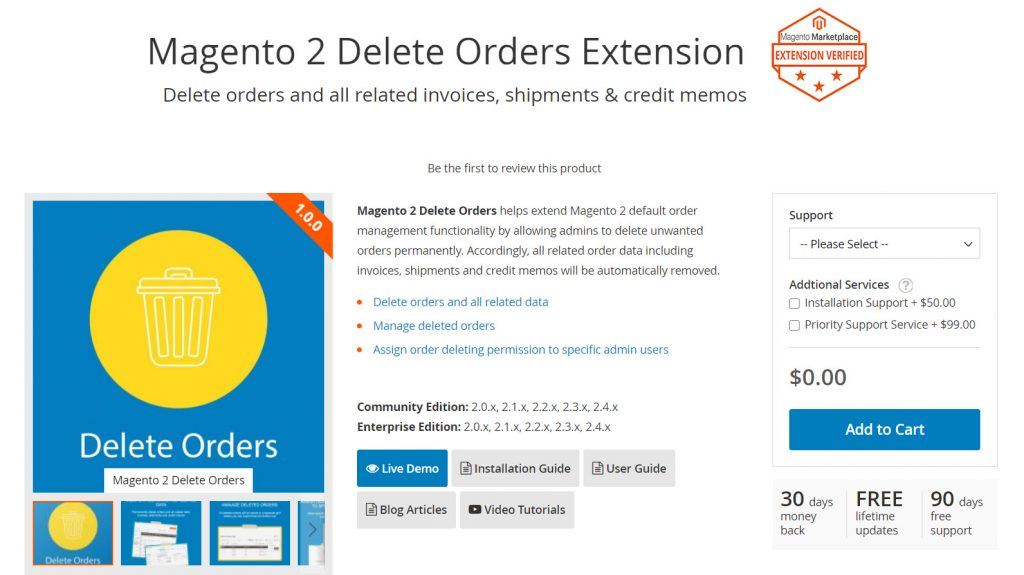 magezon magento 2 delete orders extension