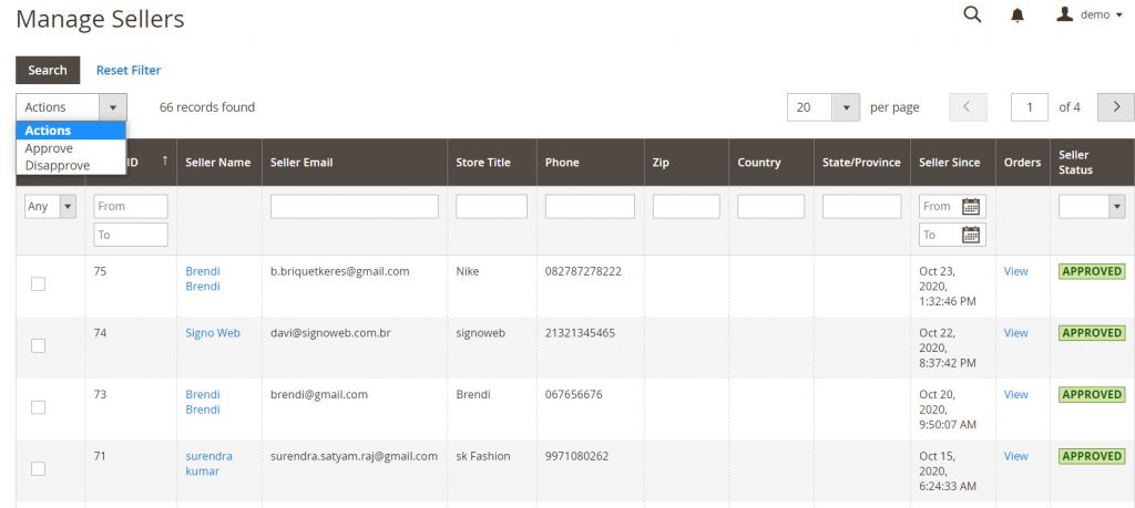 manage sellers on magetop