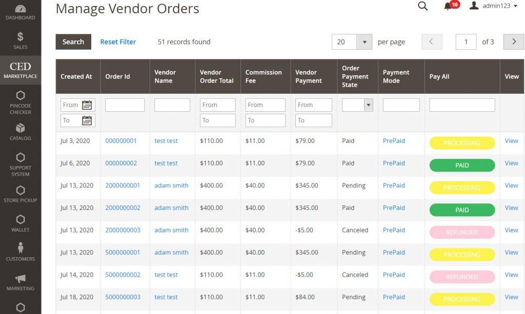 manage vendor orders
