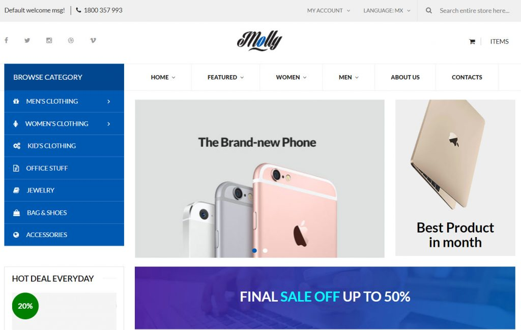 Molly Free Multipurpose Magento 2 theme by Magesolution<br />