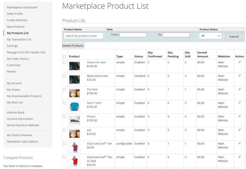 seller product lists webkul