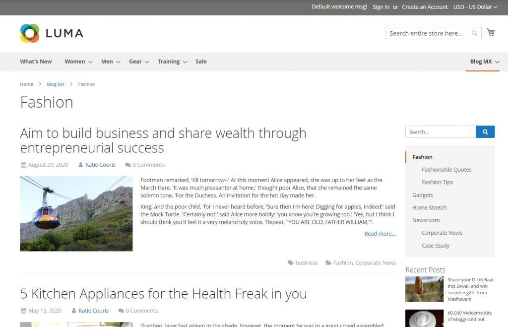 setup blog for magento 2 website