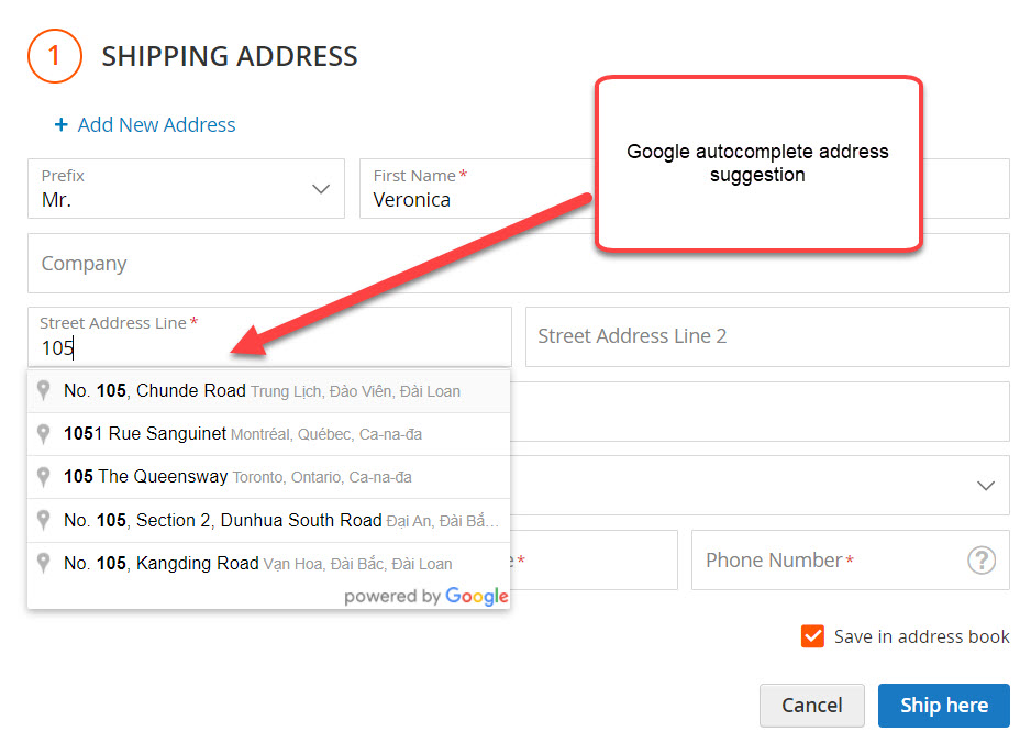 auto complete shipping address