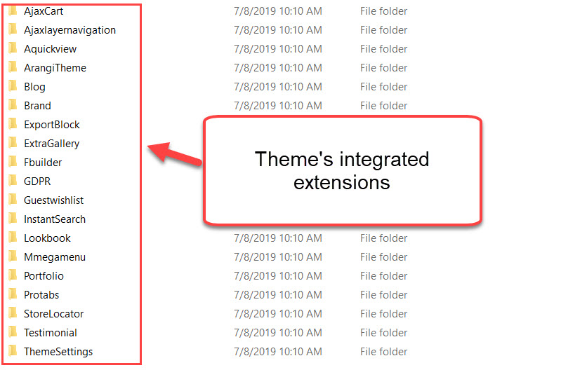 theme integrated extension