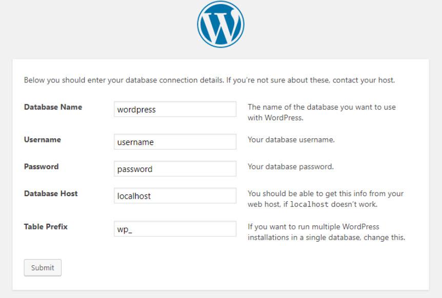wordpress instalaltion page