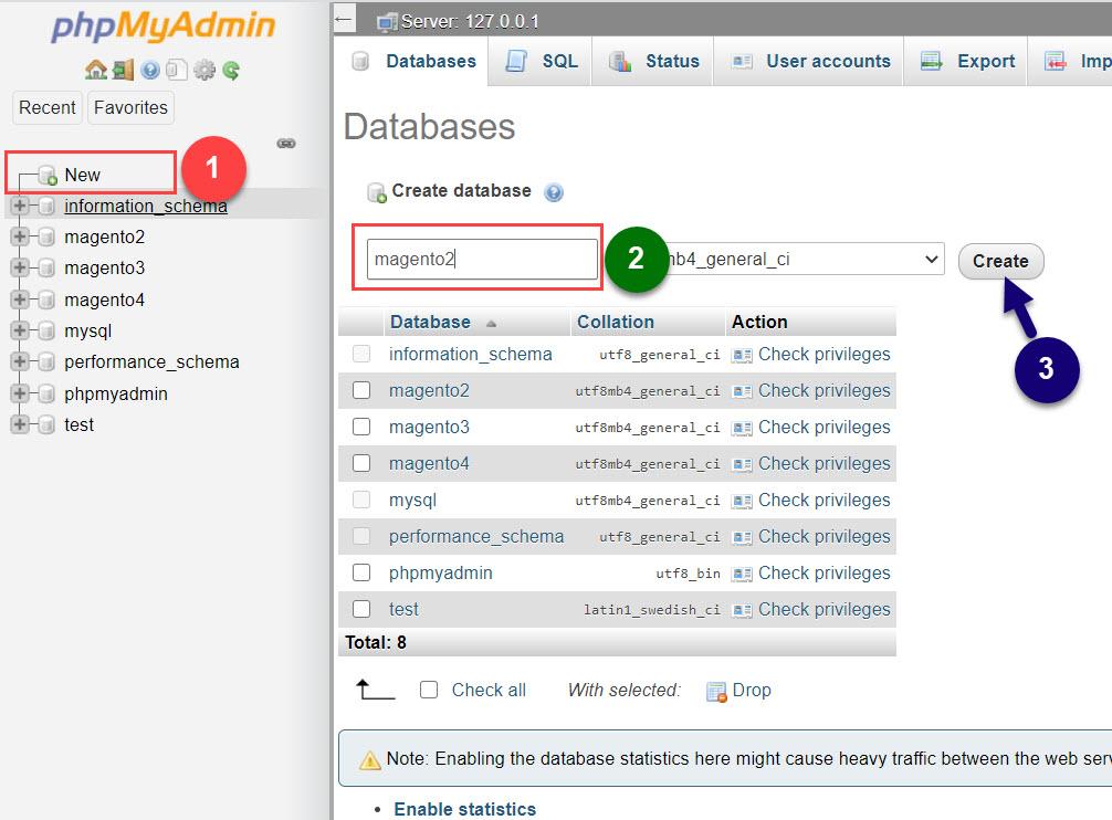 create new database phpmyadmin