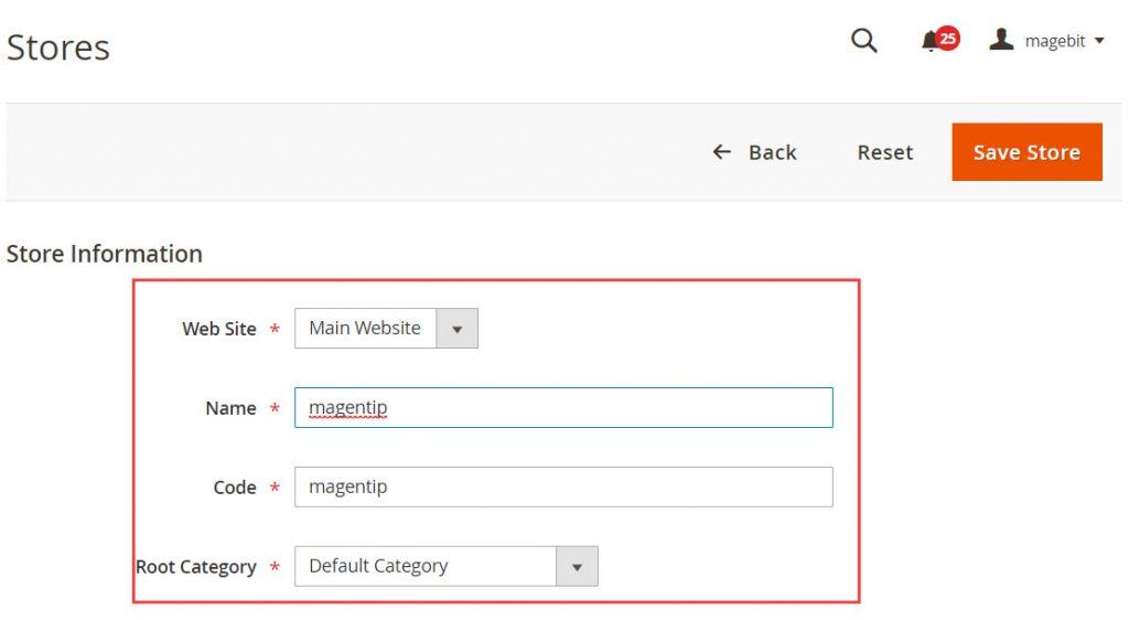 create new store magento 2 step 2