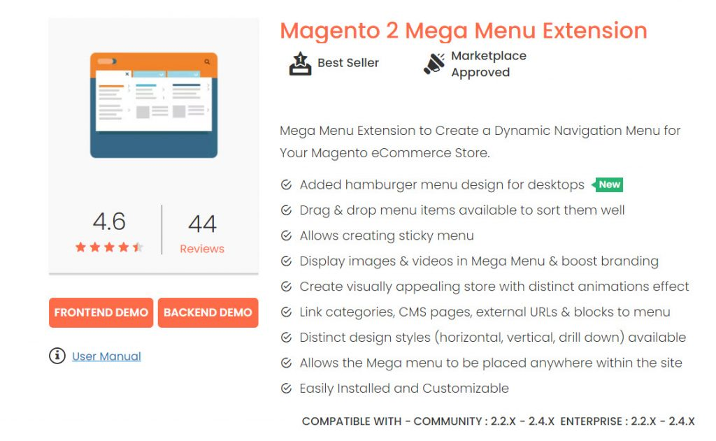magedelight magento 2 megamenu extension