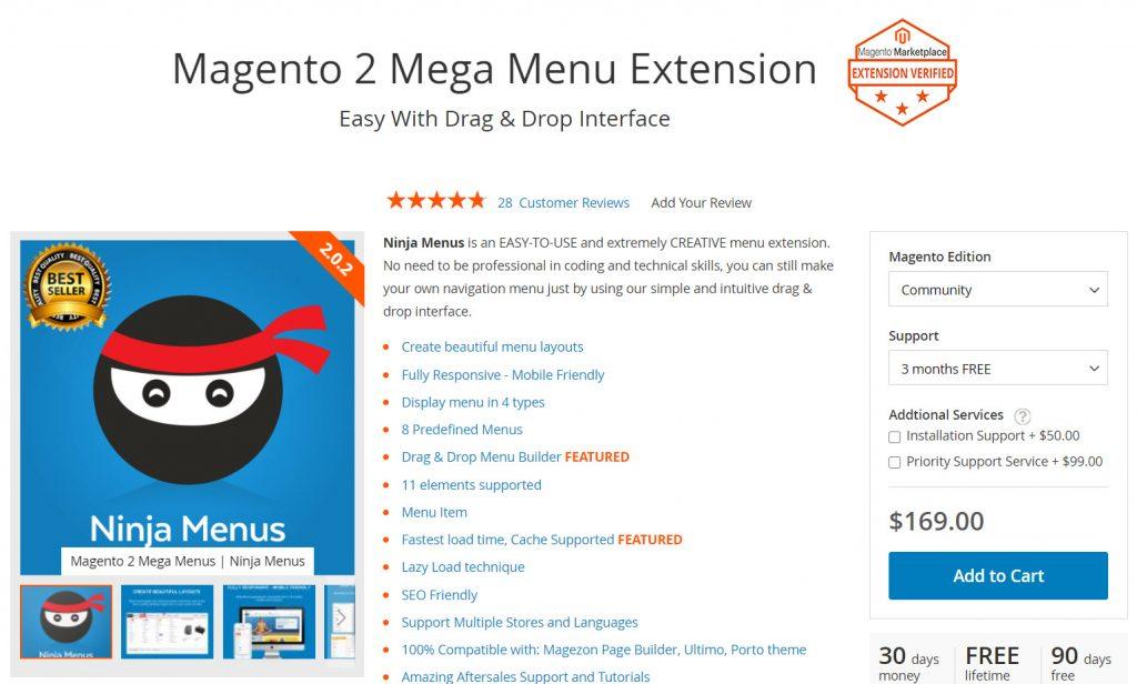 magezon ninja magento 2 megamenu extension