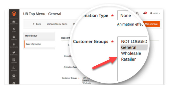 make menu visible to specific customer group