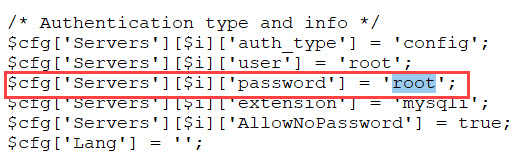 new phpmyadmin password