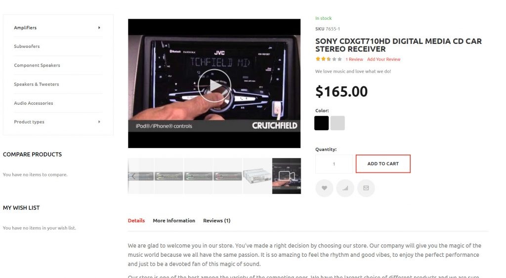 product page stereo