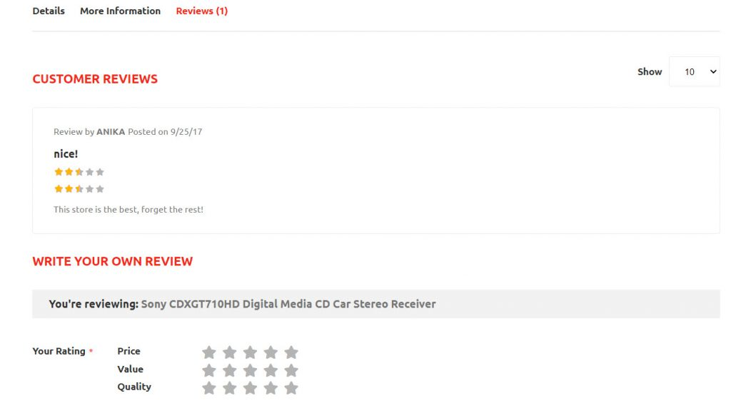 rating section stereo