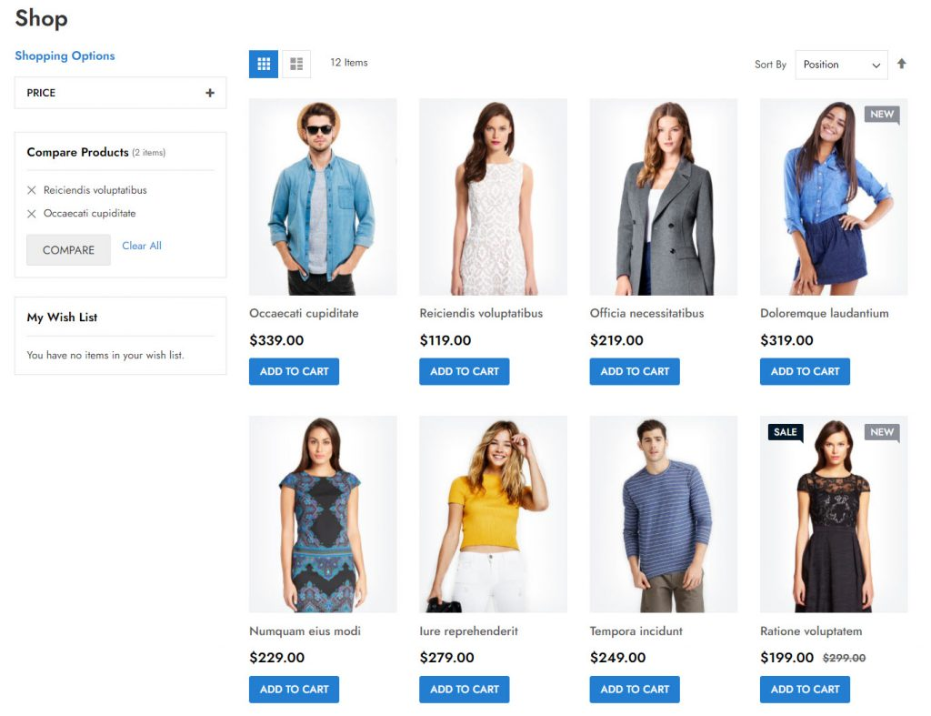 shopping category page