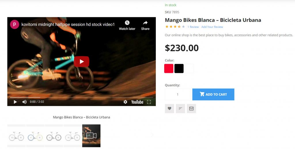 support video on product page
