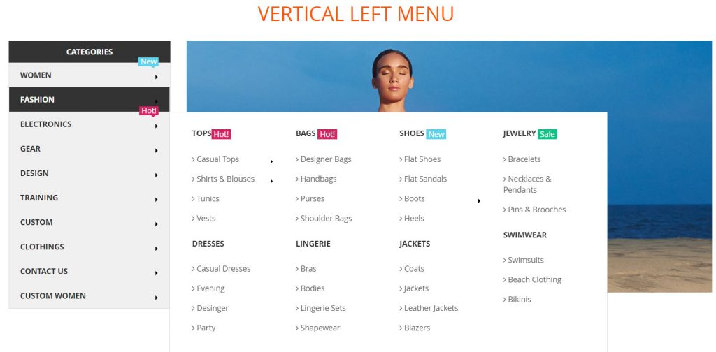 vertical left menu