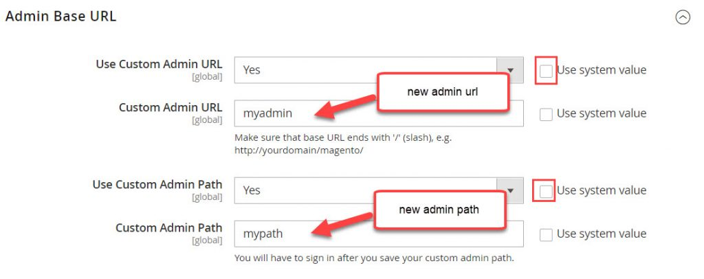 change admin base url and path
