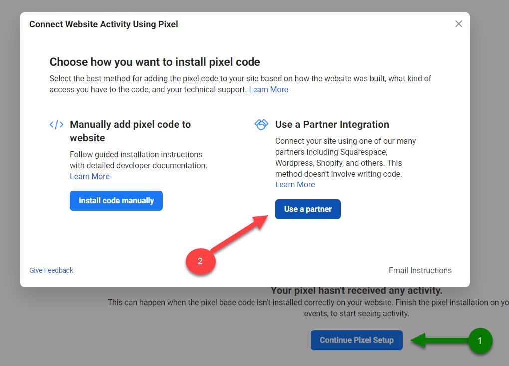 Continue pixel setup user a partner
