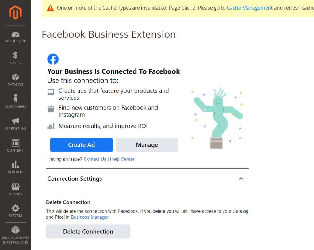 Facebook will connect to your Magento 2 website