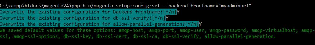 sample output change admin url command