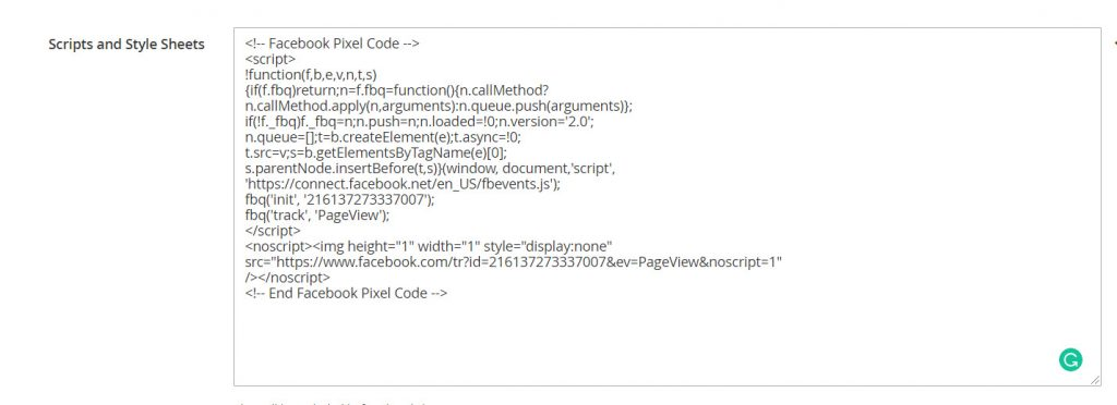 insert pixel code to Scripts and Style Sheets