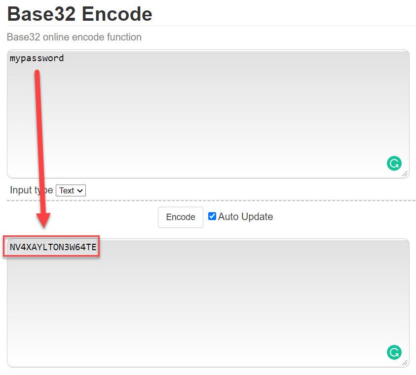 base 32 encode