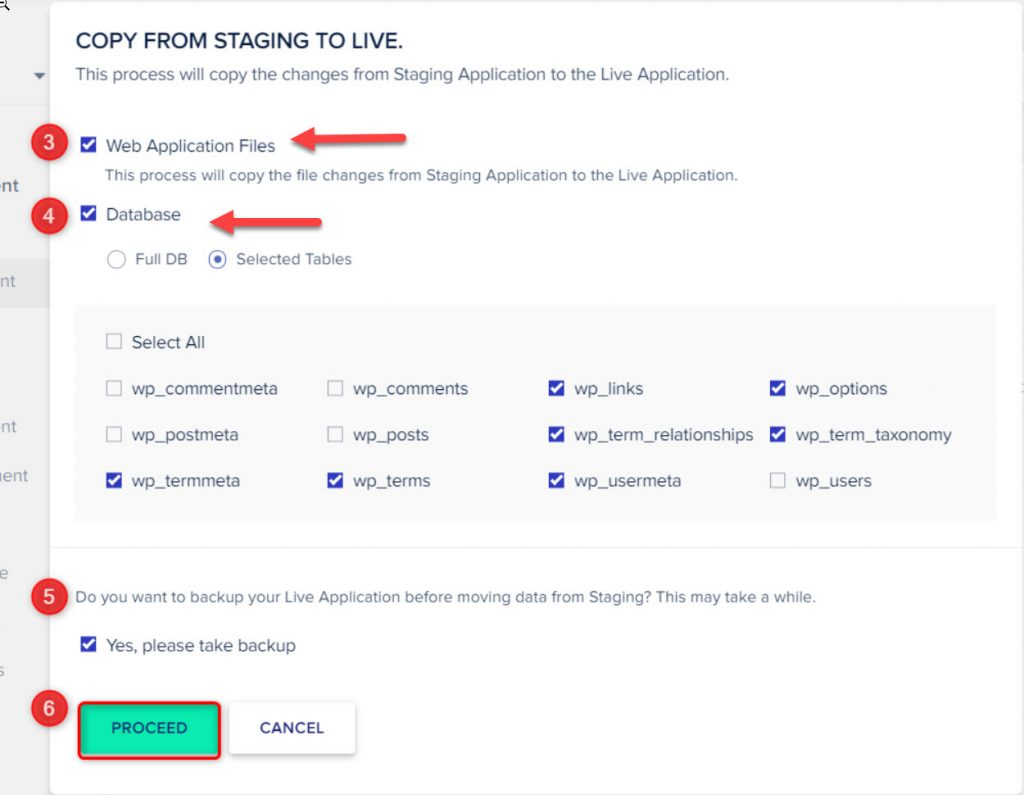 copy data from stagging site to live site