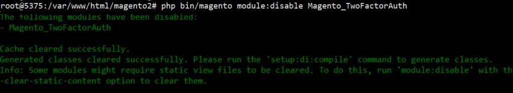 disable 2 factor authorization magento 2