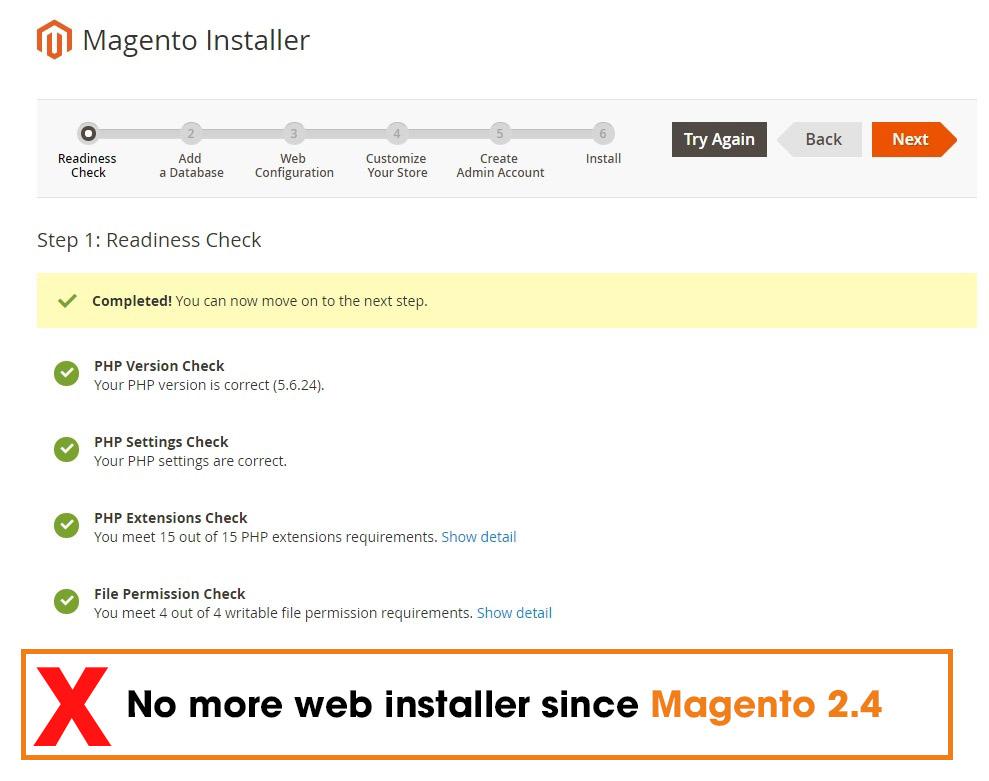 no more web installer magento 2