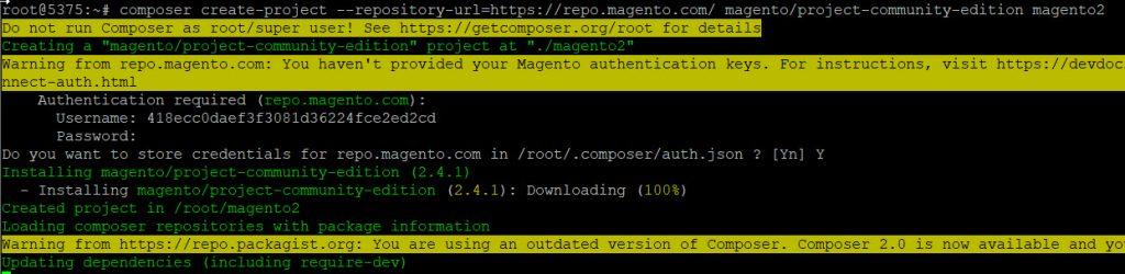 start downloading magento 2 via composer