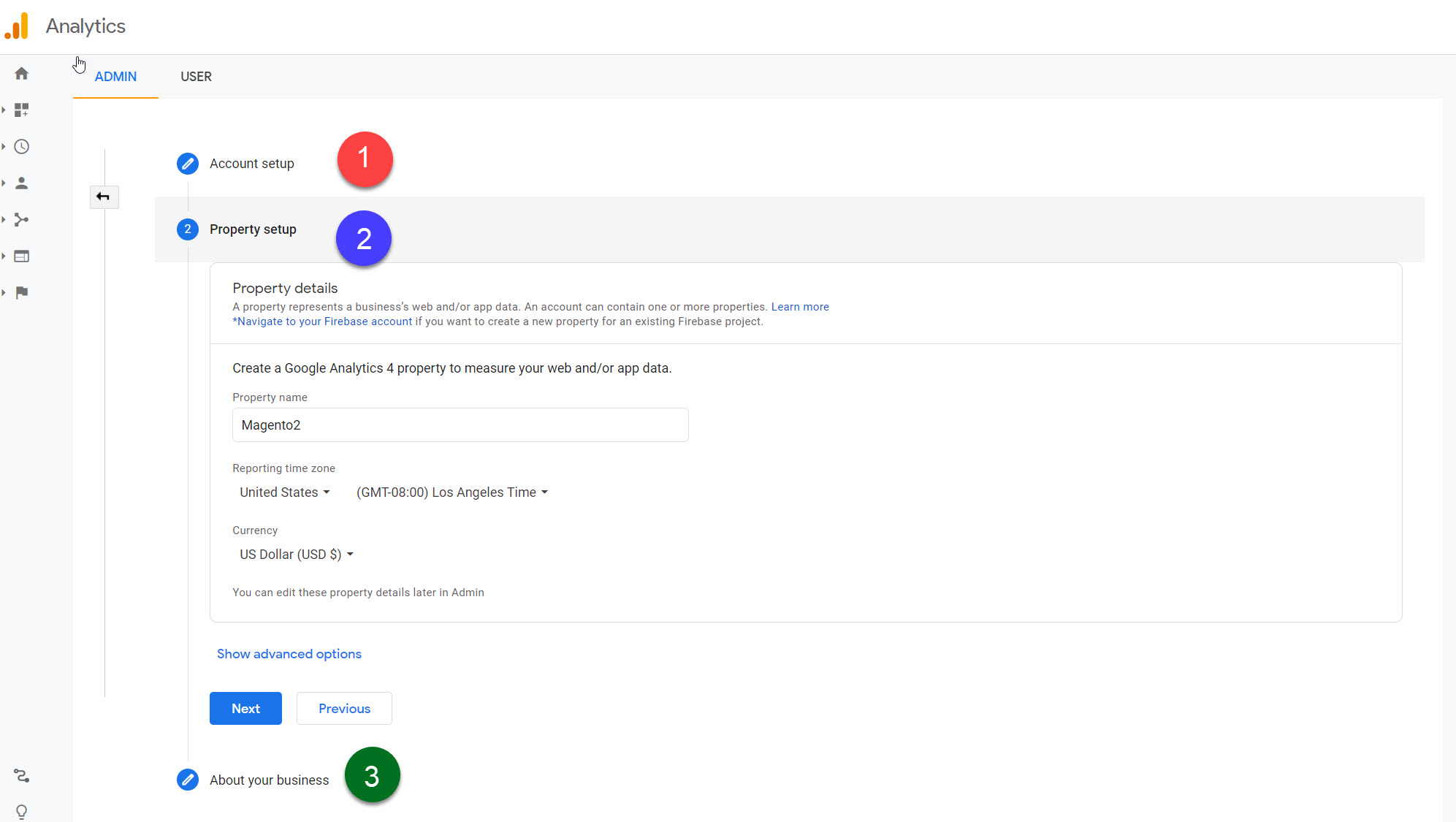 create google analytic account and property