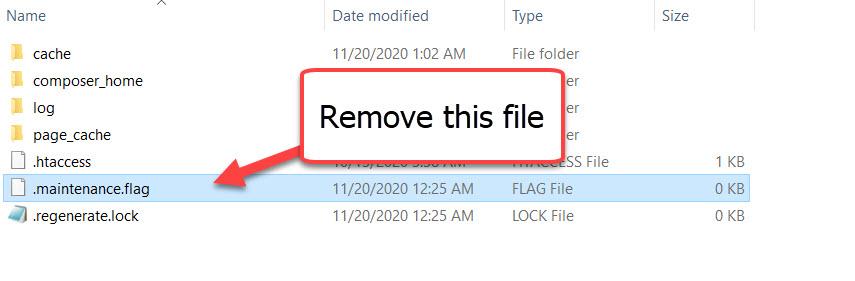 remove maintenance.flag file