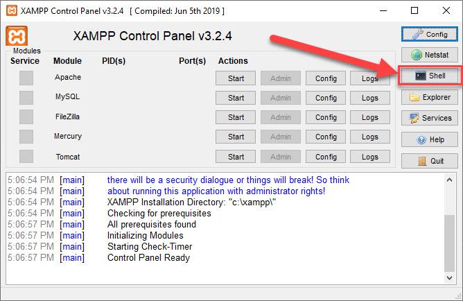 access shell xampp