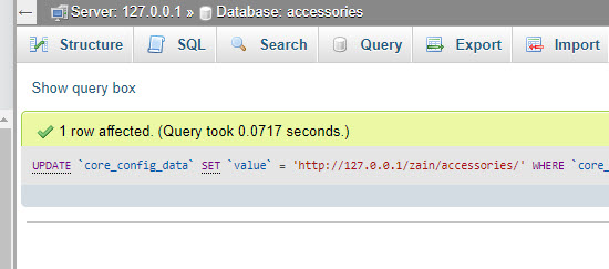 execute sql command in phpmyadmin 3
