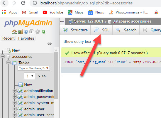 execute sql command in phpmyadmin